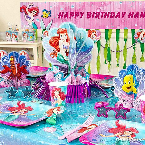 182 best disney princess party ideas images on pinterest for Ariel birthday decoration ideas