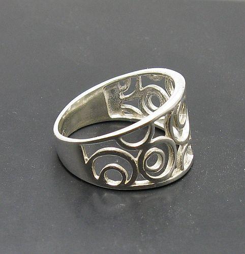 R001023 STERLING SILVER Ring Solid 925 Circles door EmpressSilver