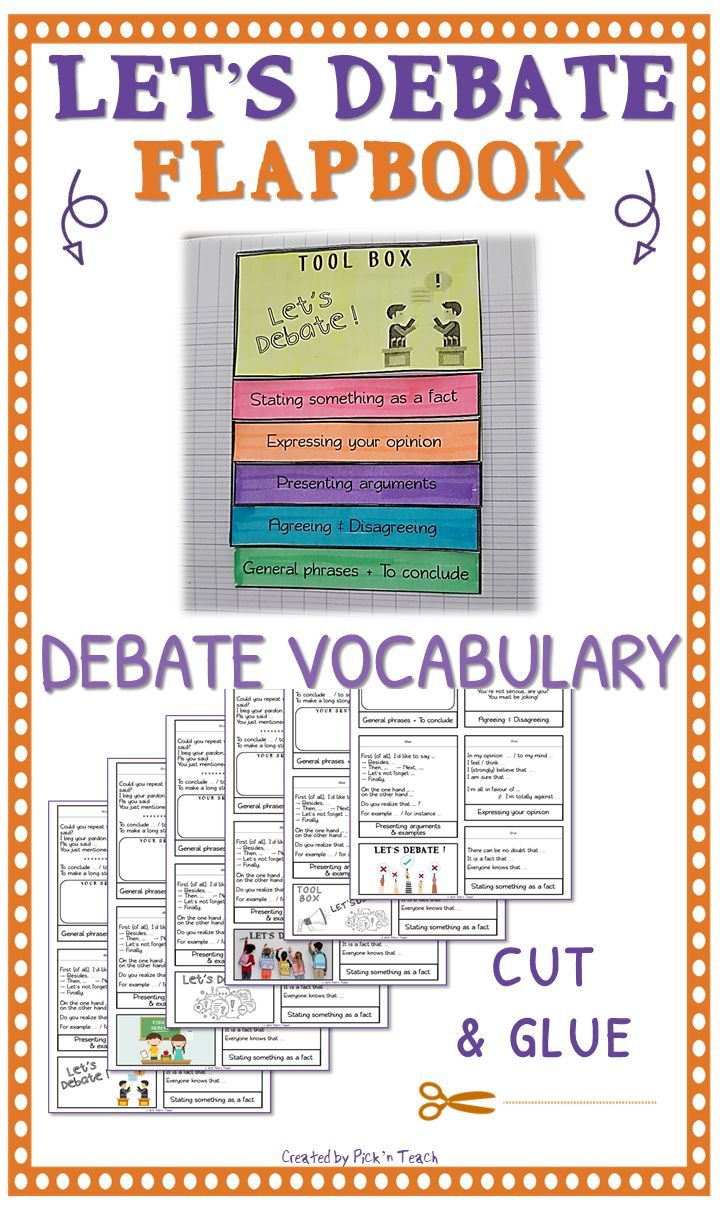 Let S Debate Debate Vocabulary Flapbook Only Print 1 Page Per