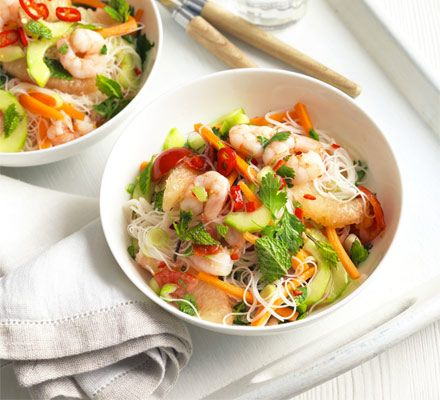 Prawn & pink grapefruit noodle salad. Take a healthy Vietnamese approach to salads by using cold vermicelli noodles with a sweet dressing, shellfish, coriander and mint.