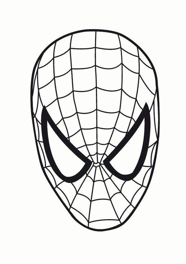 ausmalbild spiderman maske  superhelden malvorlagen