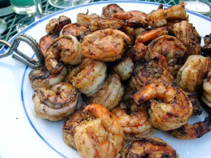 Grilled Shrimp with Old Bay- so yummy! I wasn't able to put them directly on the grill so I just cooked them in foil on the grill.  It was still delicious but I think a little char would have taken them to the next level