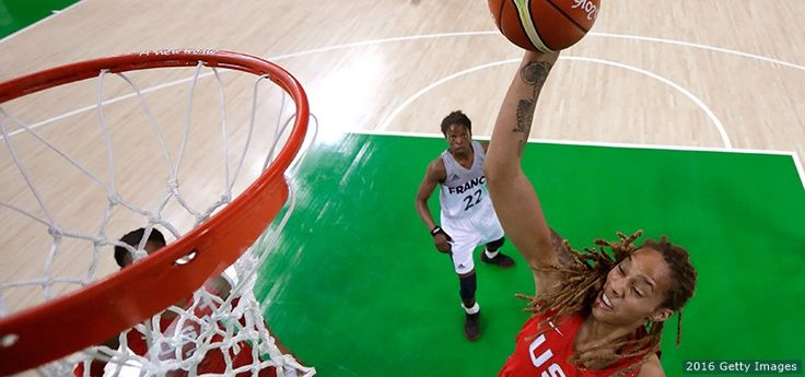 Brittney Griner, Basketball:      Brittney Griner, Basketball:          Brittney Griner shoots at a women's semifinal basketball game between the United States and France at the Rio 2016 Olympic Games at Carioca Arena 1 on Aug. 18, 2016 in Rio de Janeiro.  -     The Best Photos From Rio 2016: Aug. 18 Edition