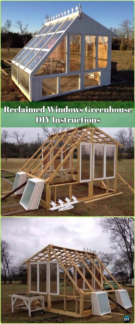 DIY Reclaimed Windows Greenhouse Instructions -18 DIY Green House Projects Instructions #greenhousediy