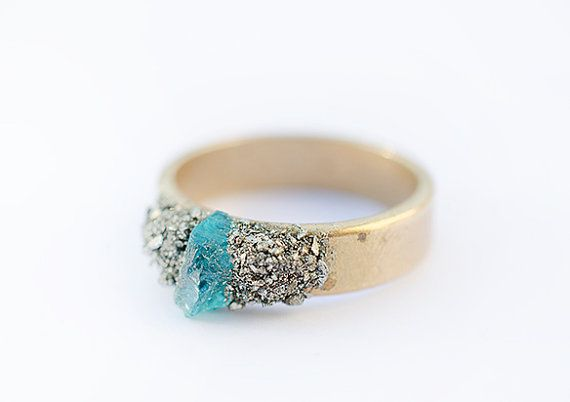 Raw Stones Gold Ring with Pyrite and Blue Apatite Crystal    This is a stock image, your ring in the picture may be a little different. Because the