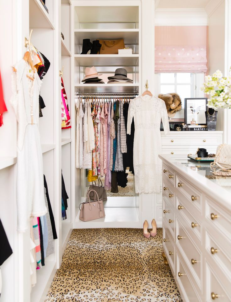 Dream Walk in Closet With All White Shelving // Leopard Carpet