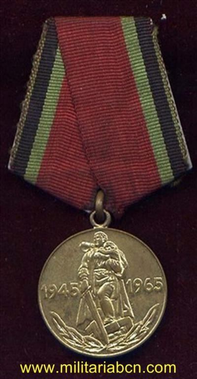 URSS. UNION SOVIETICA. MEDALLA 20 ANIVERSARIO DE LA VICTORIA EN LA GRAN GUERRA PATRIA.
