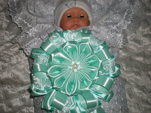 Бант на выписку новорожденной девочки из роддома. Мастер- класс./ Bow ribbons - YouTube