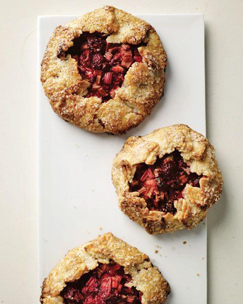 Mini Rhubarb and Raspberry Galettes - Martha Stewart Recipes: Raspberries Galette, Fun Recipes, Rhubarb Recipes, Mmmm, Raspberries Rhubarb, Raspberry Rhubarb, Rhubarb Galette, Minis Rhubarb, Cake Recipes