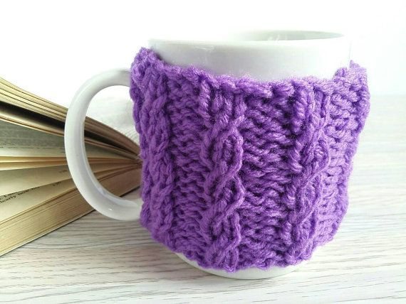 Coffee Mug Holder  Coffee Mug Cozy  Purple Coffee Cozy by 3LittlePurls