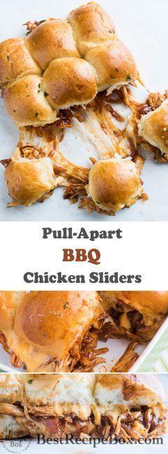 BBQ Chicken Pull Apart Sliders - Chicken Sliders Recipe | @bestrecipebox