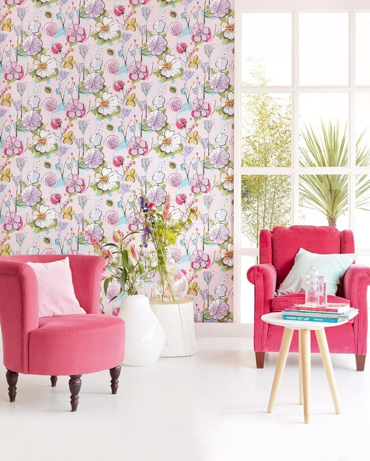 Bloom collection by Eijffinger 340031.  Brush stroke modern floral design wallpaprshop.com.au