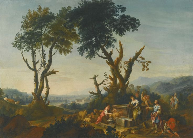 Follower of Vittorio Amedeo Cignaroli ELIEZER AND REBECCA AT THE WELL oil on canvas 62.9 by 87.6 cm.; 24 3/4  by 34 1/2  in.