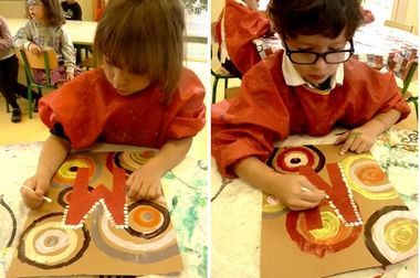Maternelle : Art aborigène tout en pratiquant les lettres