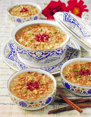 "Aşure ~ ""There is a legend about the origin of this dessert: When Noah's Ark came to rest after the Great Deluge, they felt the need to organize a feast to celebrate. But their supplies were exhausted. However, they searched through the Ark and every little bit of food they could find, they put it into the pudding and made themselves a splendid feast of ""Asure."""