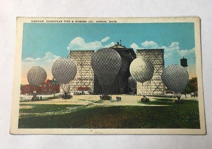 Postcard Balloon Hangar Goodyear Tire & Rubber Company in Akron Ohio Free Ship