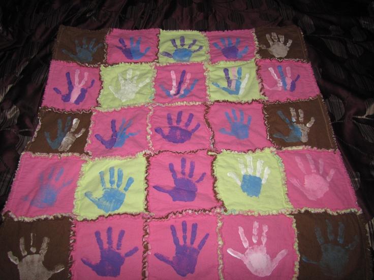 Baby Shower Blanket with handprints of kids
