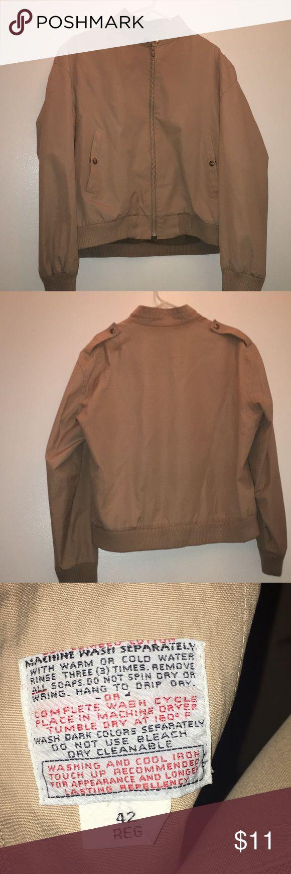 Vintage Brown/Tan Bomber Jacket Brown/Tan/Beige bomber jacket. Size M men's/unisex or Size L women's. 42 reg in men's. Price negotiable. Jackets & Coats