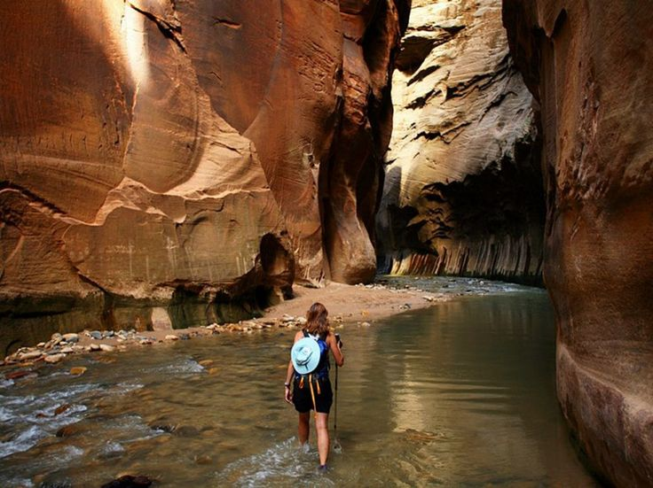 The Narrows Zion National Park, Utah   The Narrows trail follows the Virgin River for 16 miles through the breathtaking Zion Canyon. Prepare to get wet, but we think you'll agree—it's worth it.