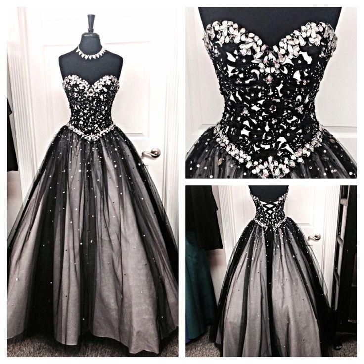 Black and silver stones prom dresses tulle sweetheart
