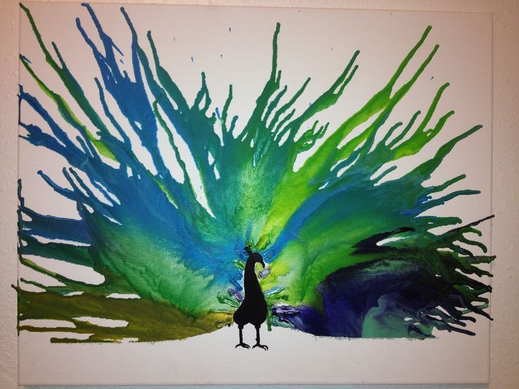 Peacock crayon art