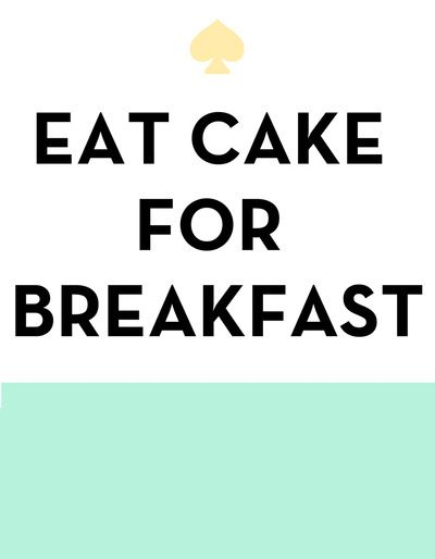 Eat Cake for Breakfast - Kate Spade Inspired Art Print by Rachel Additon | Society6 | We Heart It