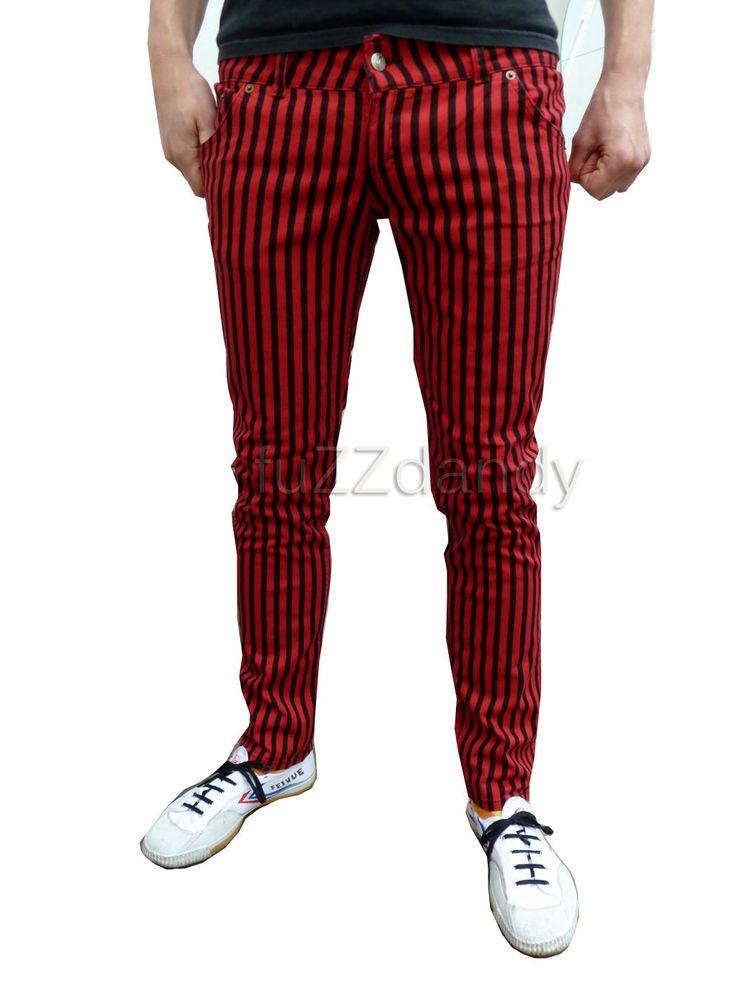 Ronnie - Super Skinny Jeans (red & black stripe)