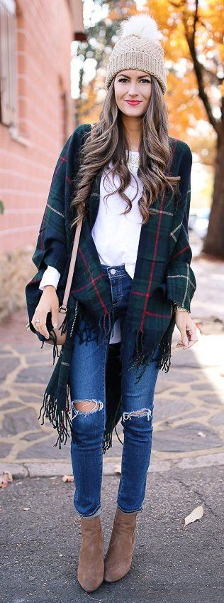 #winter #fashion /  Tartan Fringe Cardigan + Camel Beanie & Booties + Destroyed Skinny Jeans