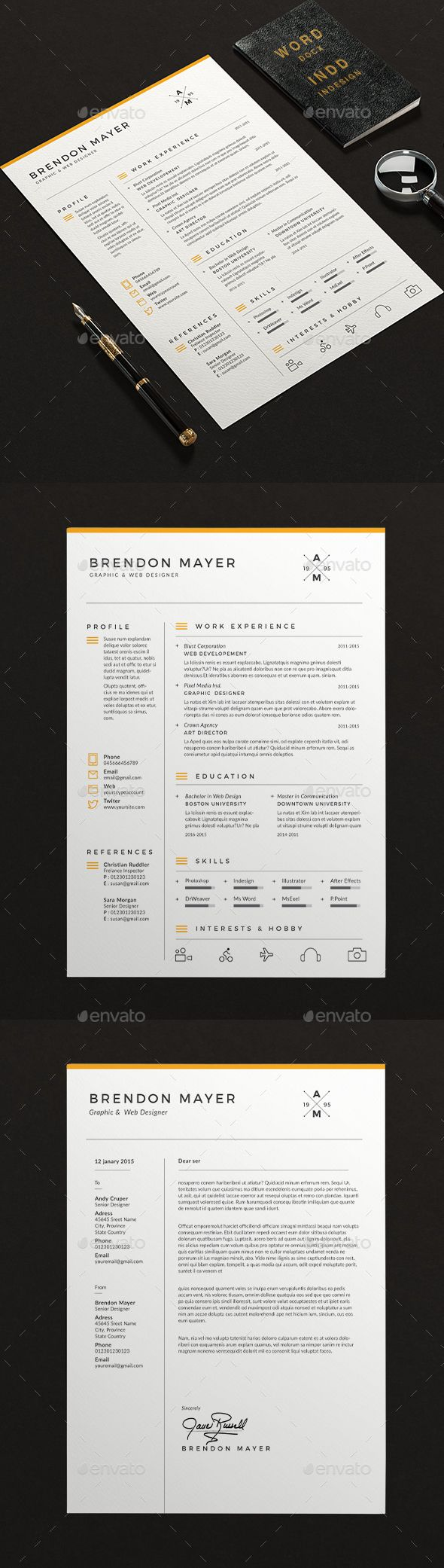 Clean Resume Word Template InDesign INDD #design Download…