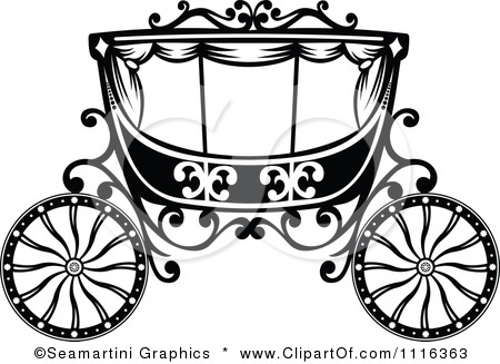Clipart Black And White Fairy Tale Romantic Wedding Carriage