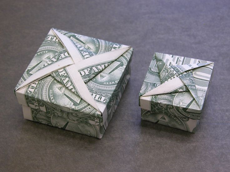 Dollar Money Origami Box with Star Cover