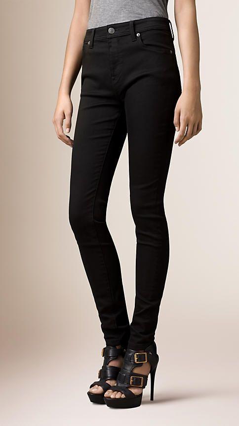 Burberry Black Skinny Fit High-Rise Deep Black Jeans - Image 1