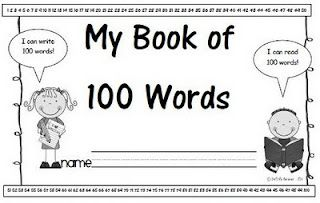 "My Book of 100 Words. Last week I asked the kiddos if they could write 100 words and they said, ""NO WAY!"" Well, won't they be surprised when we finish up our word lists in this little book and they discover that they really can write 100 words"
