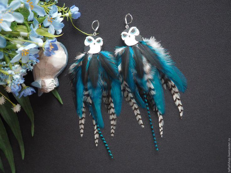 Голубоглазая сова - необычные серьги с перьями бохо с совой - серьги с перьями
