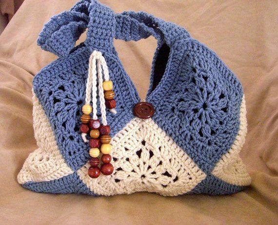 Crochet cream and blue shoulder bag, granny squares shoulder bag, fashion fall bag, summer bag, beaded shoulder bag 2013. $55.00, via Etsy.