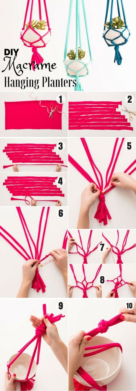 Check out how to easily make DIY Macrame Hanging Planters @istandarddesign