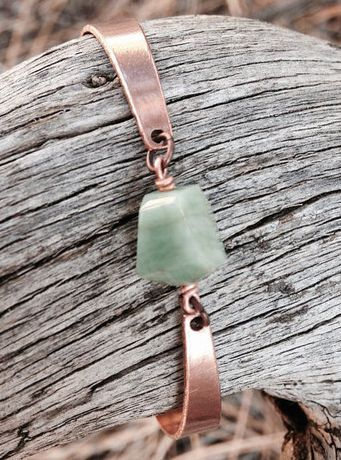 Emerald and Copper Bracelet. Fairie jewelry