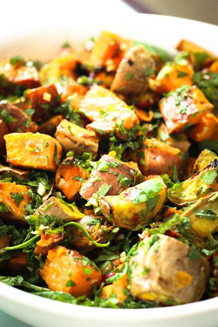 Sweet potato salad with cilantro lime dressing = a good way to use up lots of coriander