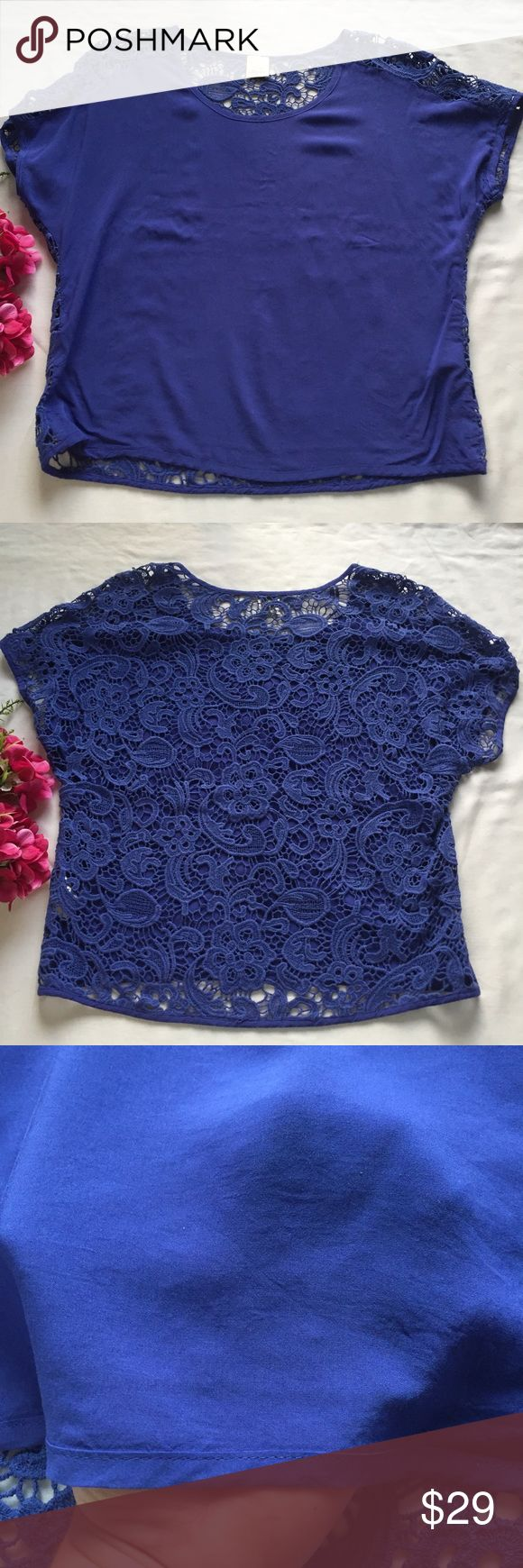Ella Moss Crochet Back Short Sleeve Blouse Lightweight royal blue blouse from Ella Moss. Solid front panel that is very slightly sheer. Matched with an intricate floral Crochet panel on the back. Slightly oversized with short sleeves in a dolman style. Excellent condition with no flaws. The pit to pit and length are included in the images. (Location I) {no trades - no modeling} Ella Moss Tops Blouses