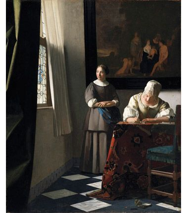 Johannes Vermeer, Woman Writing a Letter, with her Maid, c.1670 on ArtStack #johannes-vermeer #art