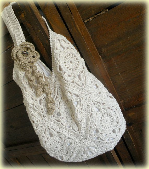 Cream boho chic summer bag, crochet granny squares bag, cream tote bag, chunky oversize,