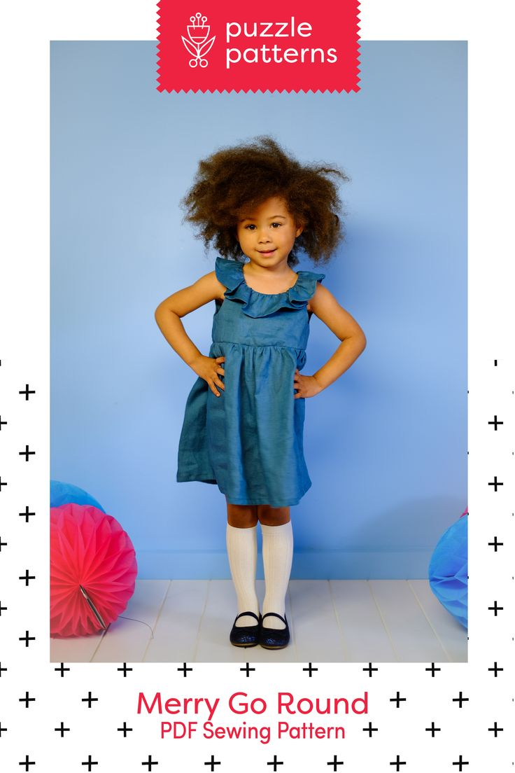 PDF sewing Pattern, girls, dress, ruffled collar.