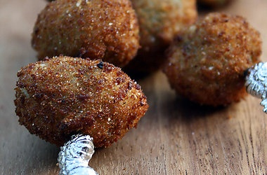 Fried Stuffed Olives with cheese | savory goodness | Pinterest