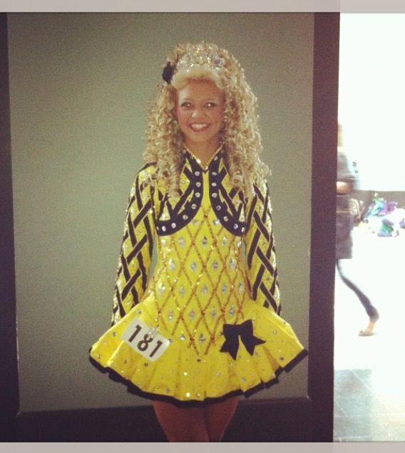 Lovely Yellow Gavin Doherty Irish Dance Dress Solo Costume For Sale
