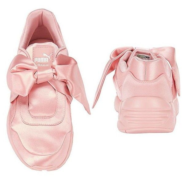 PUMA x FENTY by Rihanna Women's Bow Pink Sneakers ($160) ❤ liked on Polyvore featuring shoes, sneakers, puma footwear, puma trainers, pink shoes, pink trainers and elastic shoes
