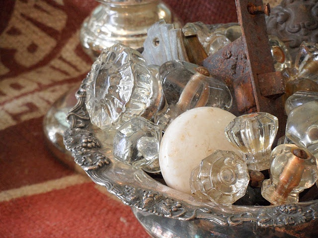 antique hardware as a bowl filler...I like this idea. I use knobs for decorate all the time.