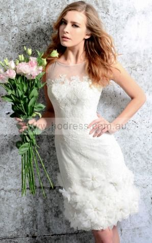 2015 Spring Sheath Scoop Lace Short Wedding Dresses