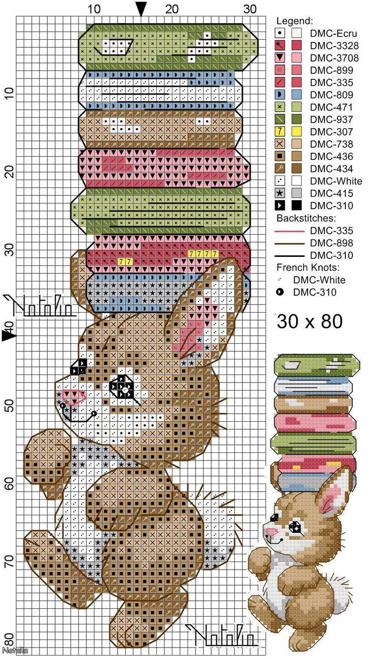 Bunny and Books Bookmark Cross Stitch Pattern.