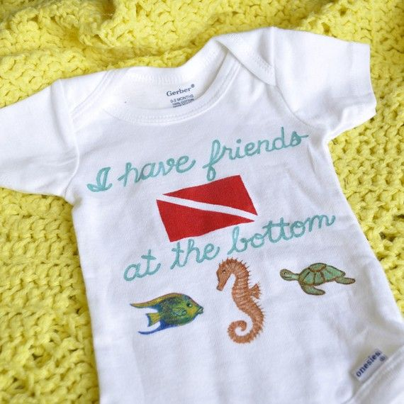 Baby Scuba Diver Handpainted Onesie  I have friends by ClassyTees, $20.00