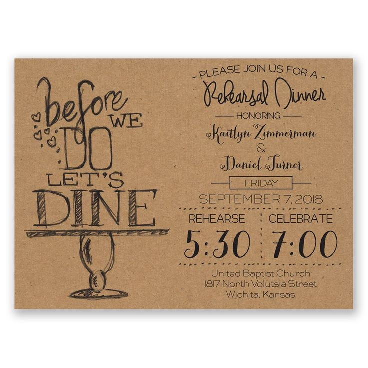 On Display Petite Rehearsal Dinner Invitation Shops